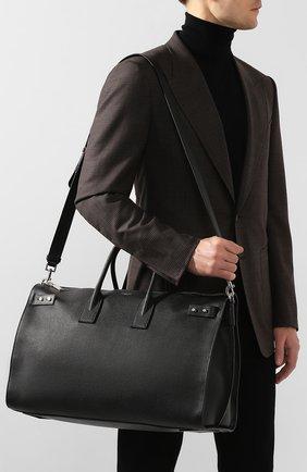 Кожаная дорожная сумка с плечевым ремнем Saint Laurent черная | Фото №5
