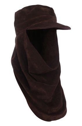 Замшевая шапка-балаклава с козырьком | Фото №1
