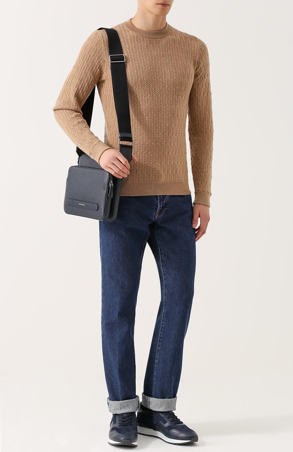 Кожаная сумка-планшет Mediterraneo с двумя отделениями на молнии Dolce & Gabbana темно-синяя | Фото №2