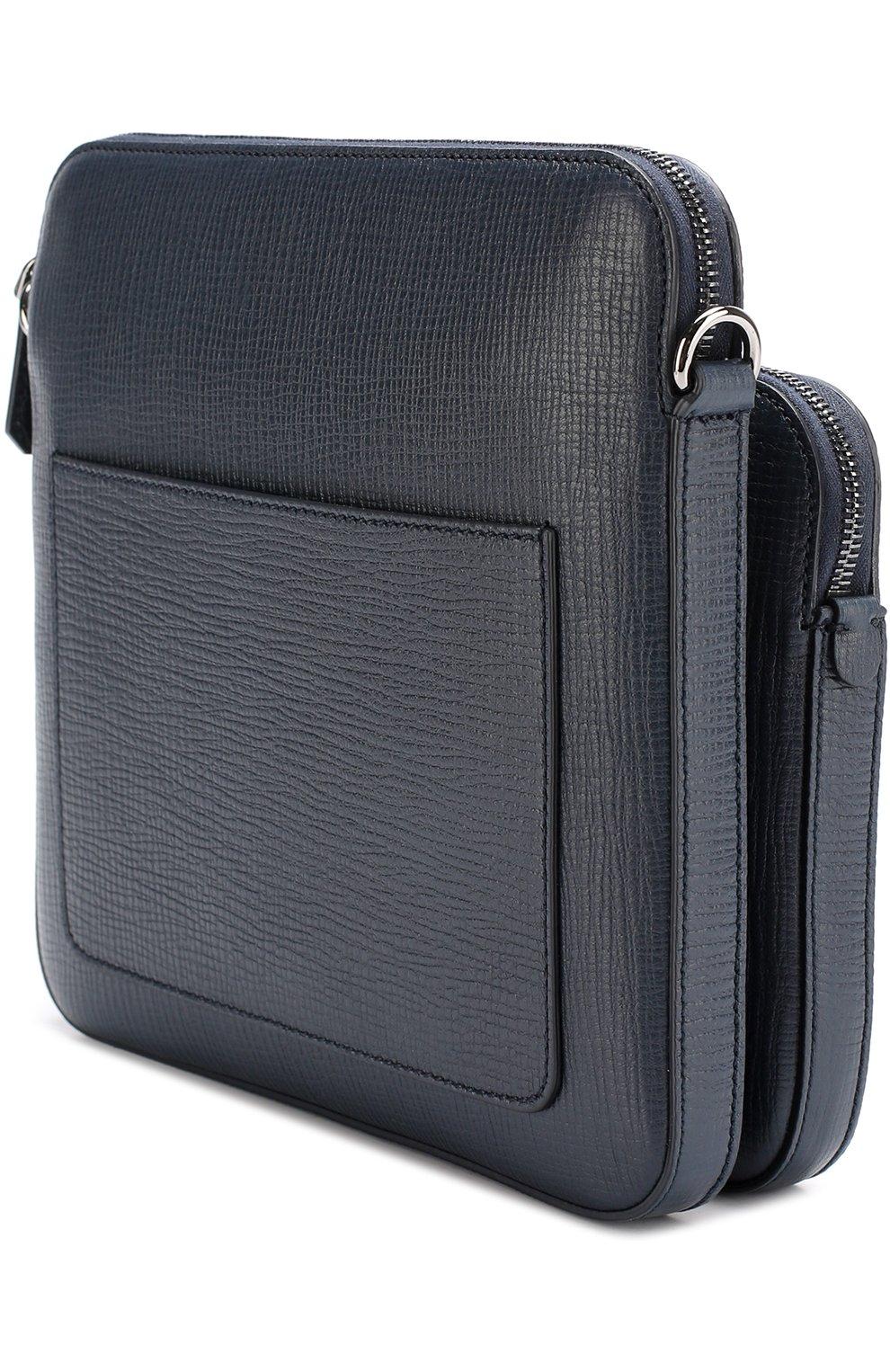 Кожаная сумка-планшет Mediterraneo с двумя отделениями на молнии Dolce & Gabbana темно-синяя | Фото №3