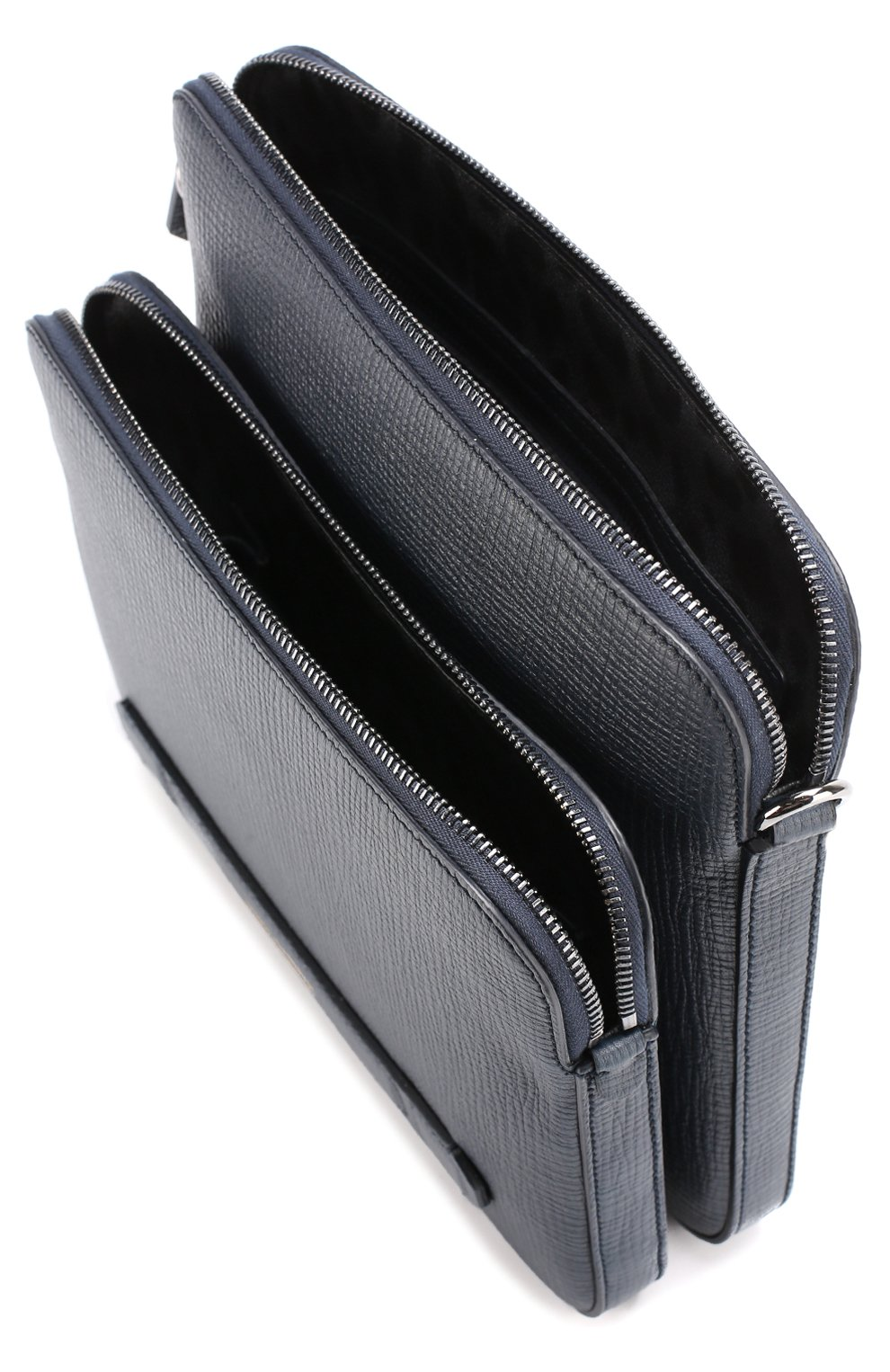Кожаная сумка-планшет Mediterraneo с двумя отделениями на молнии Dolce & Gabbana темно-синяя | Фото №4