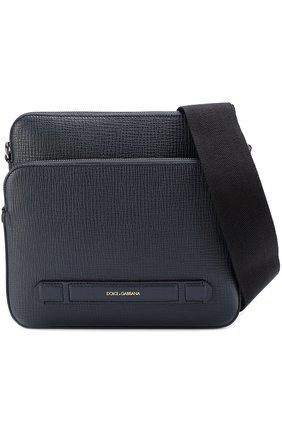 Кожаная сумка-планшет Mediterraneo с двумя отделениями на молнии Dolce & Gabbana темно-синяя | Фото №5