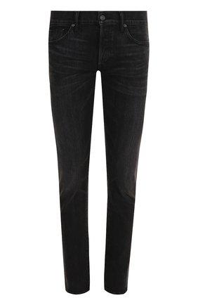 Мужские джинсы прямого кроя с потертостями TOM FORD черного цвета, арт. BNJ14/TFD002 | Фото 1