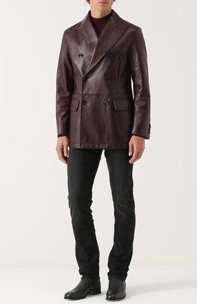 Мужские джинсы прямого кроя с потертостями TOM FORD черного цвета, арт. BNJ14/TFD002 | Фото 2