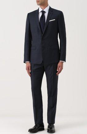 Шерстяной костюм в клетку с пиджаком на двух пуговицах Dolce & Gabbana синий | Фото №1