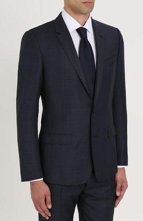 Шерстяной костюм в клетку с пиджаком на двух пуговицах Dolce & Gabbana синий | Фото №2