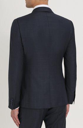 Шерстяной костюм в клетку с пиджаком на двух пуговицах Dolce & Gabbana синий | Фото №3