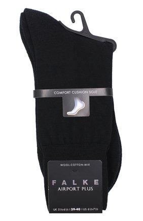 Мужские носки airport plus из смеси шерсти и хлопка FALKE черного цвета, арт. 14403 | Фото 1