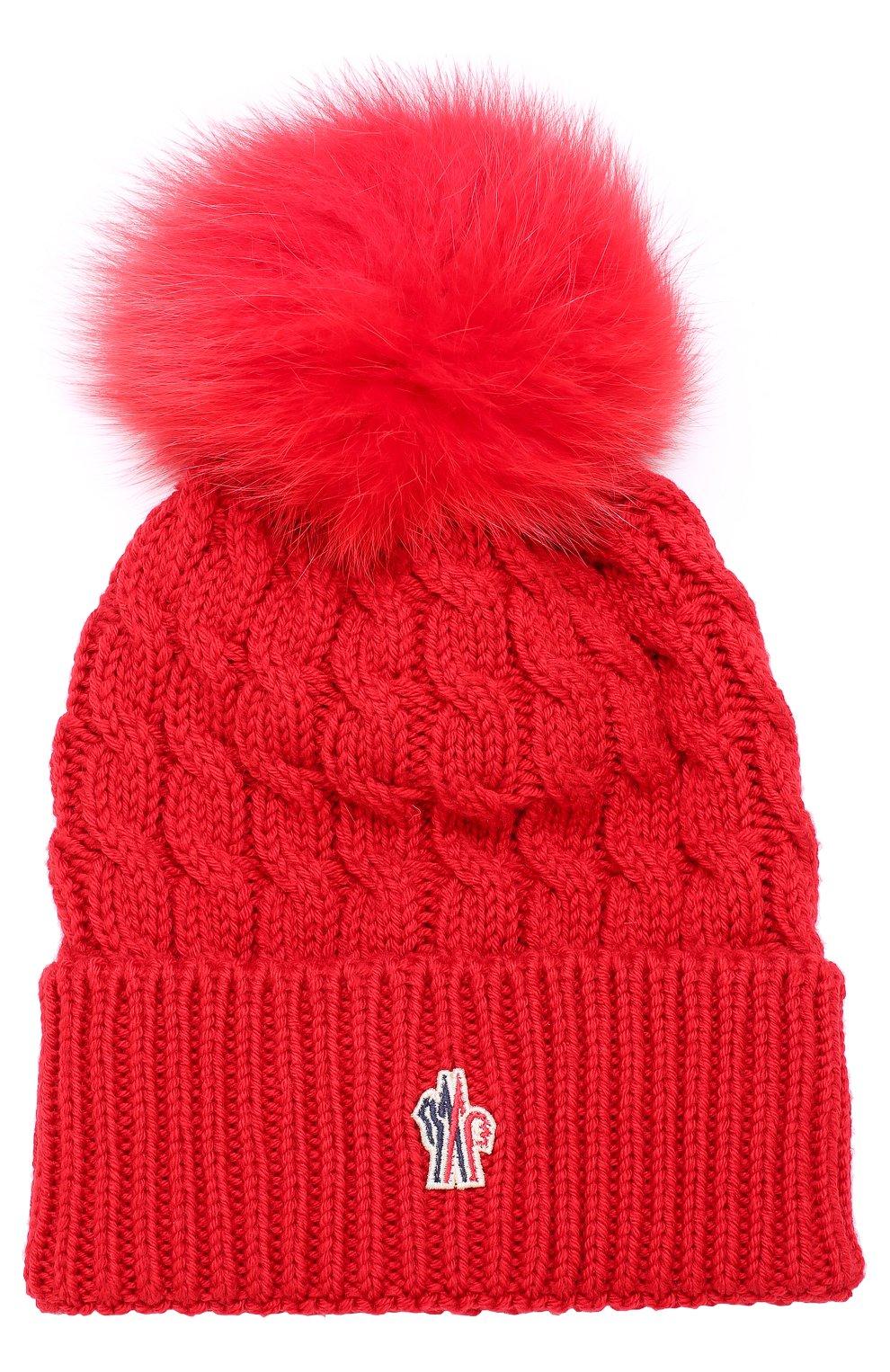 Шерстяная шапка фактурной вязки с меховым помпоном   Фото №1