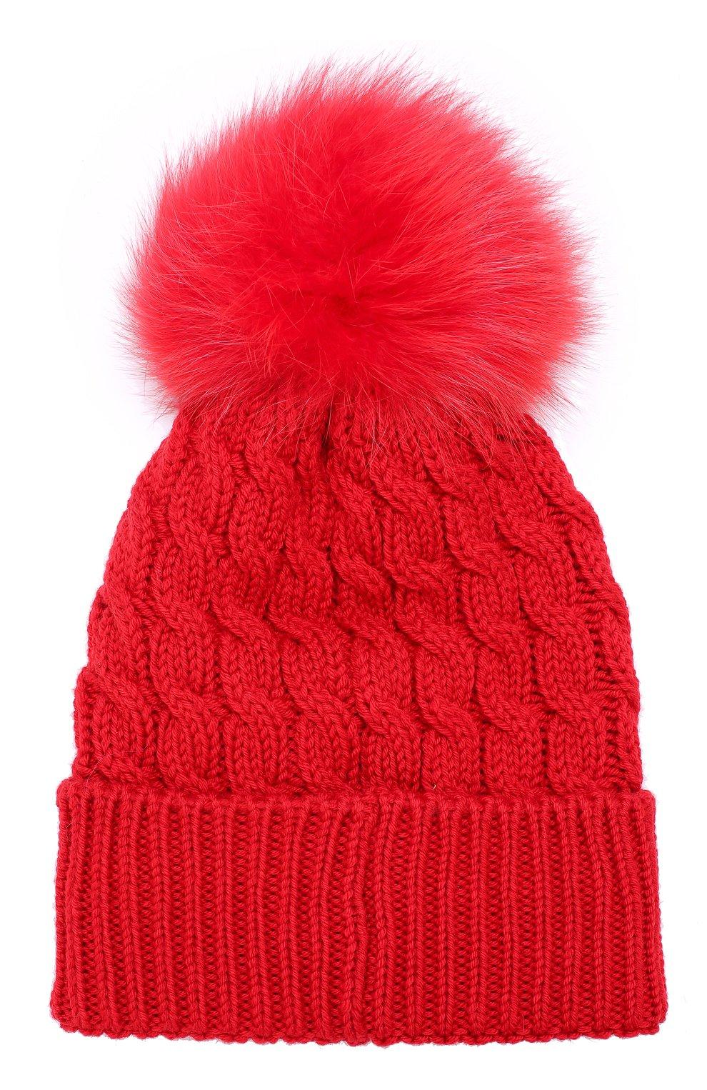 Шерстяная шапка фактурной вязки с меховым помпоном Moncler красного цвета   Фото №2