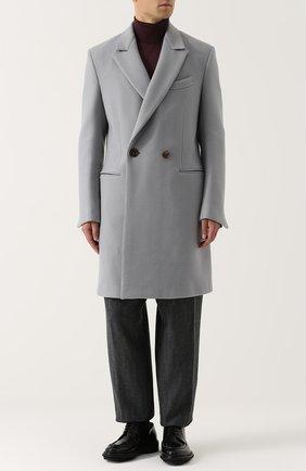 Двубортное шерстяное пальто с отложным воротником Zegna Couture светло-серого цвета | Фото №1