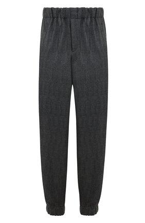 Шерстяные брюки с поясом и манжетами на резинке