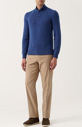 Мужской хлопковые брюки LORO PIANA бежевого цвета, арт. FAG4236   Фото 2