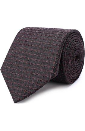 Шелковый галстук с узором Pal Zileri коричневого цвета   Фото №1