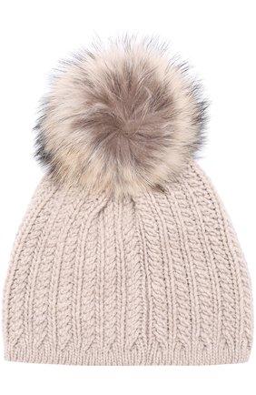 Кашемировая шапка фактурной вязки с меховым помпоном Inverni темно-серого цвета   Фото №1