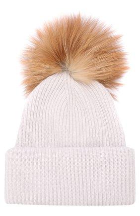 Кашемировая шапка фактурной вязки с меховым помпоном Inverni белого цвета   Фото №1