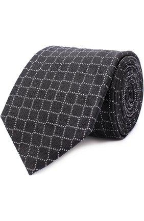 Мужской шелковый галстук с узором PAL ZILERI черного цвета, арт. L300C16/22948 | Фото 1