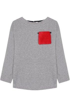 Хлопковый свитшот с накладным карманом | Фото №1