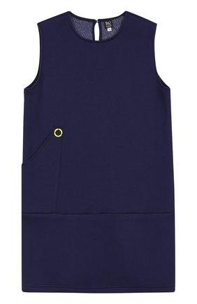 Детское платье джерси с контрастной отделкой Leoca синего цвета | Фото №1