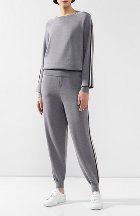 Спортивный костюм из смеси шелка и кашемира Olivia Von Halle серого цвета | Фото №1