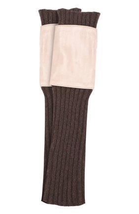 Текстильные митенки с кожаной отделкой | Фото №1