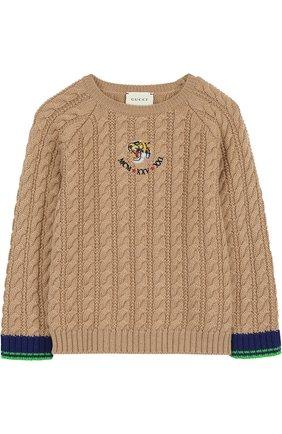 Детский шерстяной свитер фактурной вязки с нашивкой GUCCI бежевого цвета, арт. 475550/X9C84 | Фото 1
