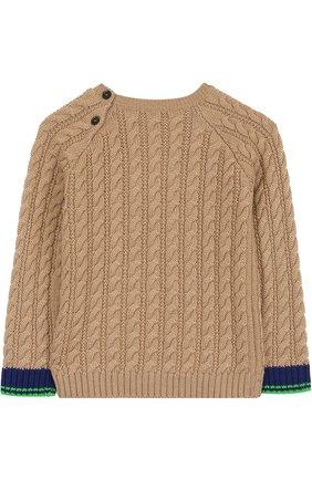 Детский шерстяной свитер фактурной вязки с нашивкой GUCCI бежевого цвета, арт. 475550/X9C84 | Фото 2