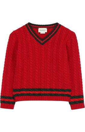 Шерстяной пуловер фактурной вязки   Фото №1