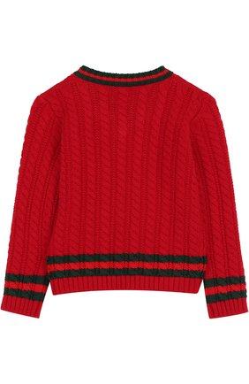Шерстяной пуловер фактурной вязки   Фото №2