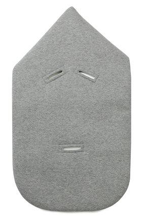 Детский хлопковый конверт с вязаной отделкой GUCCI серого цвета, арт. 478417/X9A87 | Фото 2
