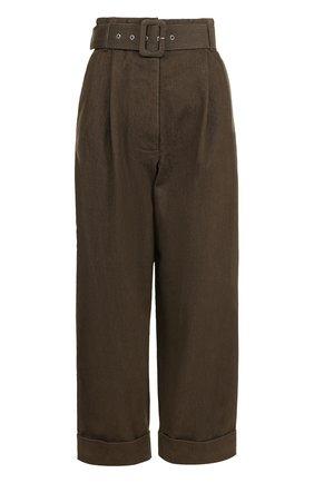 Укороченные джинсы с защипами и поясом Isa Arfen хаки | Фото №1