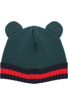 Шерстяная шапка с контрастным отворотом   Фото №1