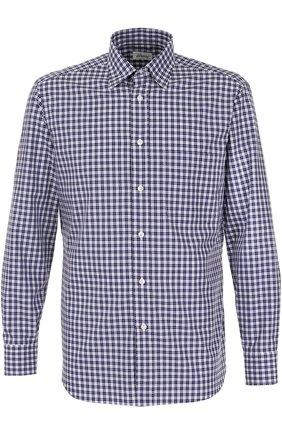 Мужская хлопковая рубашка в клетку BRIONI синего цвета, арт. SC09/0603X | Фото 1