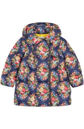 Пуховое стеганое пальто с цветочным принтом | Фото №1