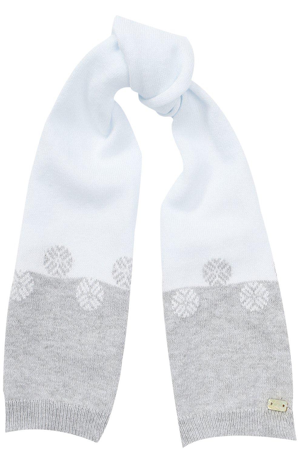 Детский комплект из шарфа с варежками TARTINE ET CHOCOLAT голубого цвета, арт. TK90101 | Фото 2 (Материал: Текстиль, Хлопок; Статус проверки: Проверено)