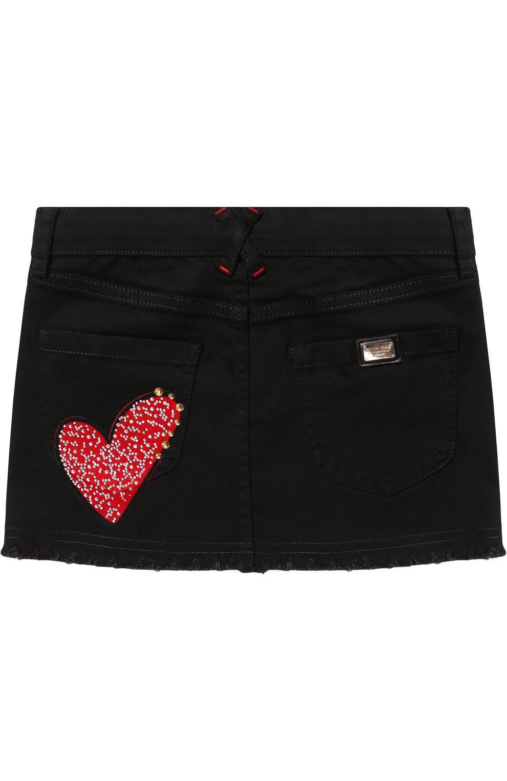 Джинсовая юбка с декоративной отделкой | Фото №2
