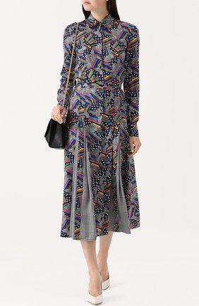 Шелковое платье-миди с поясом и принтом Gabriela Hearst разноцветное | Фото №1
