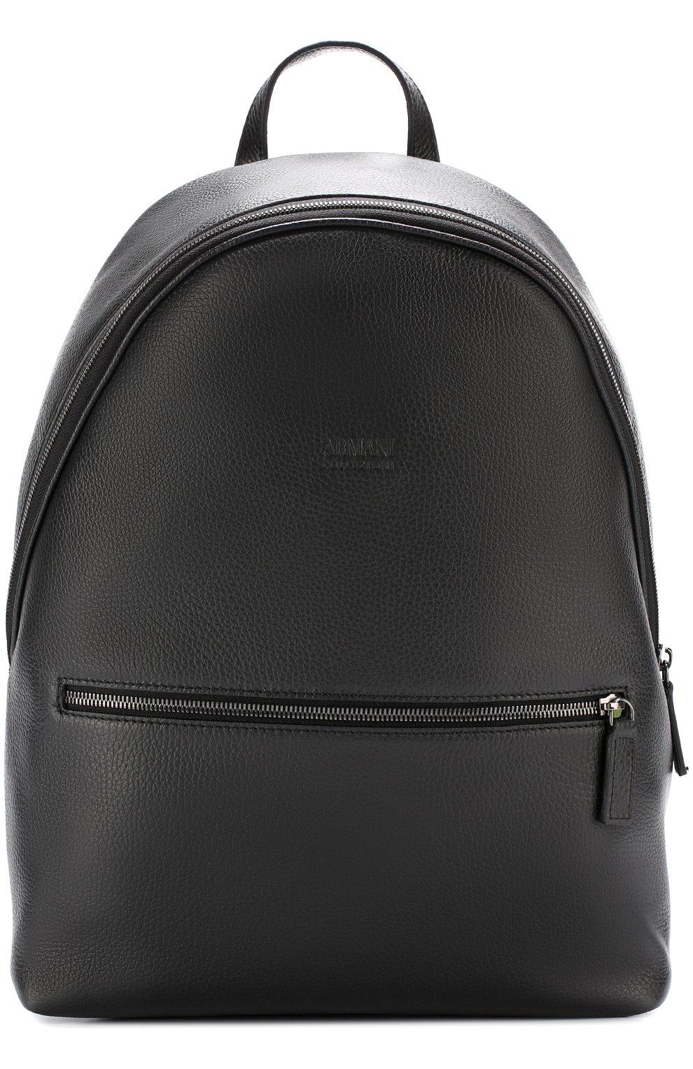 491c705448d3 Фото Мужской черный кожаный рюкзак с внешним карманом на молнии ARMANI  COLLEZIONI Италия 5193197 542000/