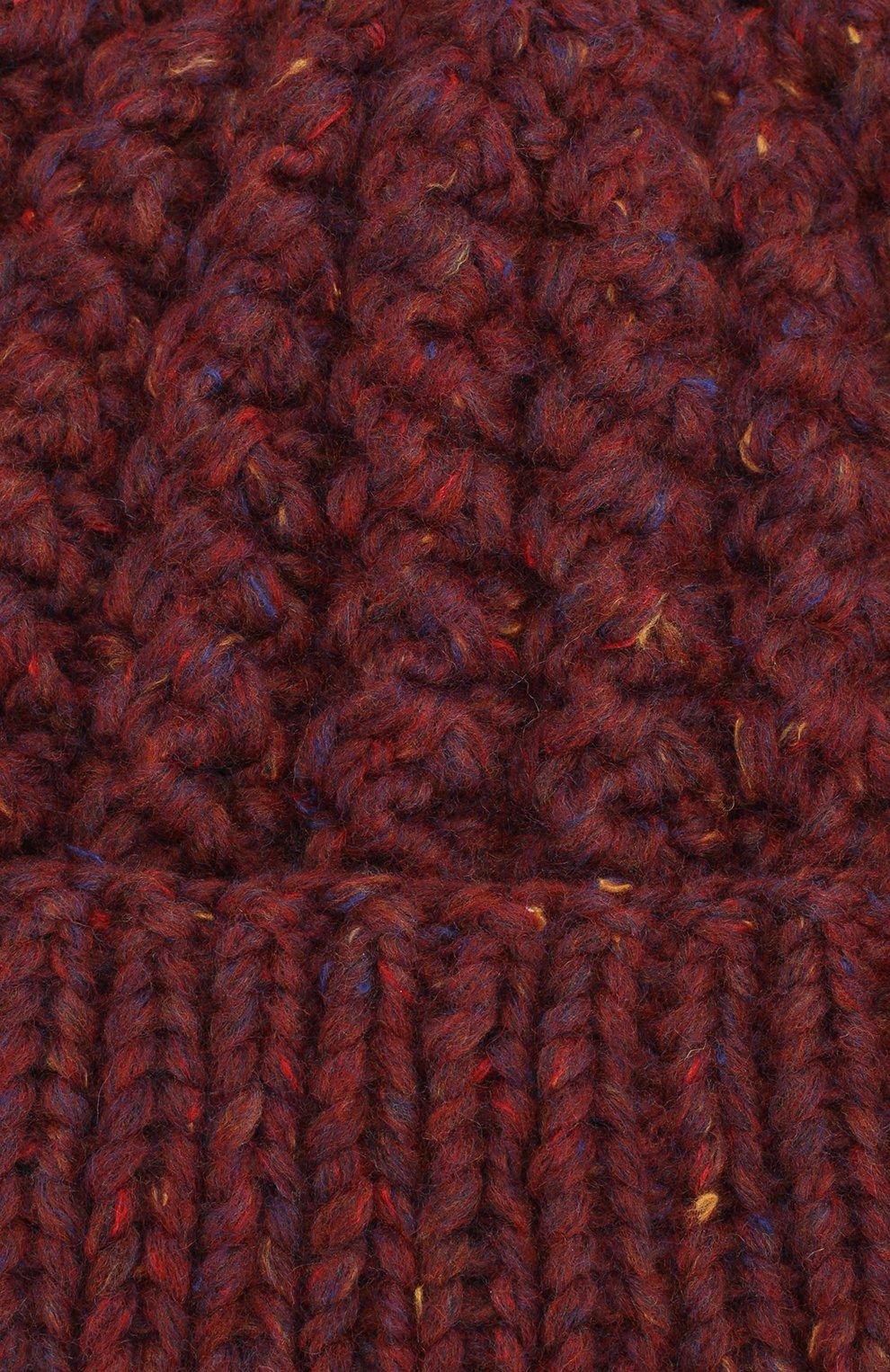 Шапка из смеси шерсти и кашемира фактурной вязки Karakoram accessories бордового цвета | Фото №3