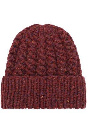 Шапка из смеси шерсти и кашемира фактурной вязки Karakoram accessories бордового цвета   Фото №1