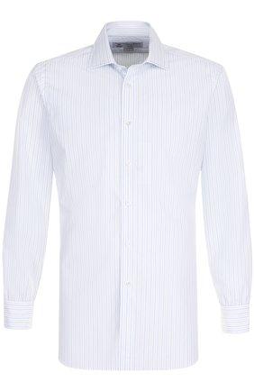 Хлопковая сорочка с воротником кент Turnbull & Asser светло-голубая | Фото №1