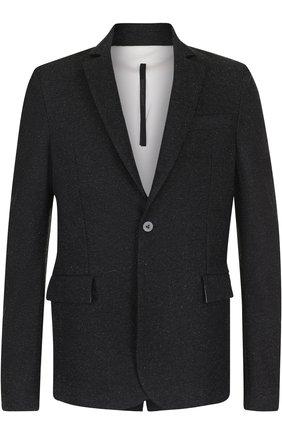 Однобортный пиджак из смеси хлопка и шерсти   Фото №1