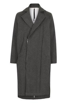 Хлопковое пальто асимметричного кроя с отложным воротником   Фото №1