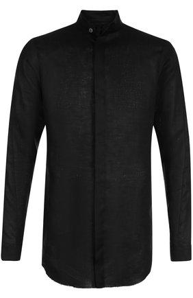 Удлиненная льняная рубашка с воротником-стойкой   Фото №1