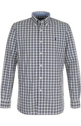 Хлопковая рубашка в клетку с воротником button down