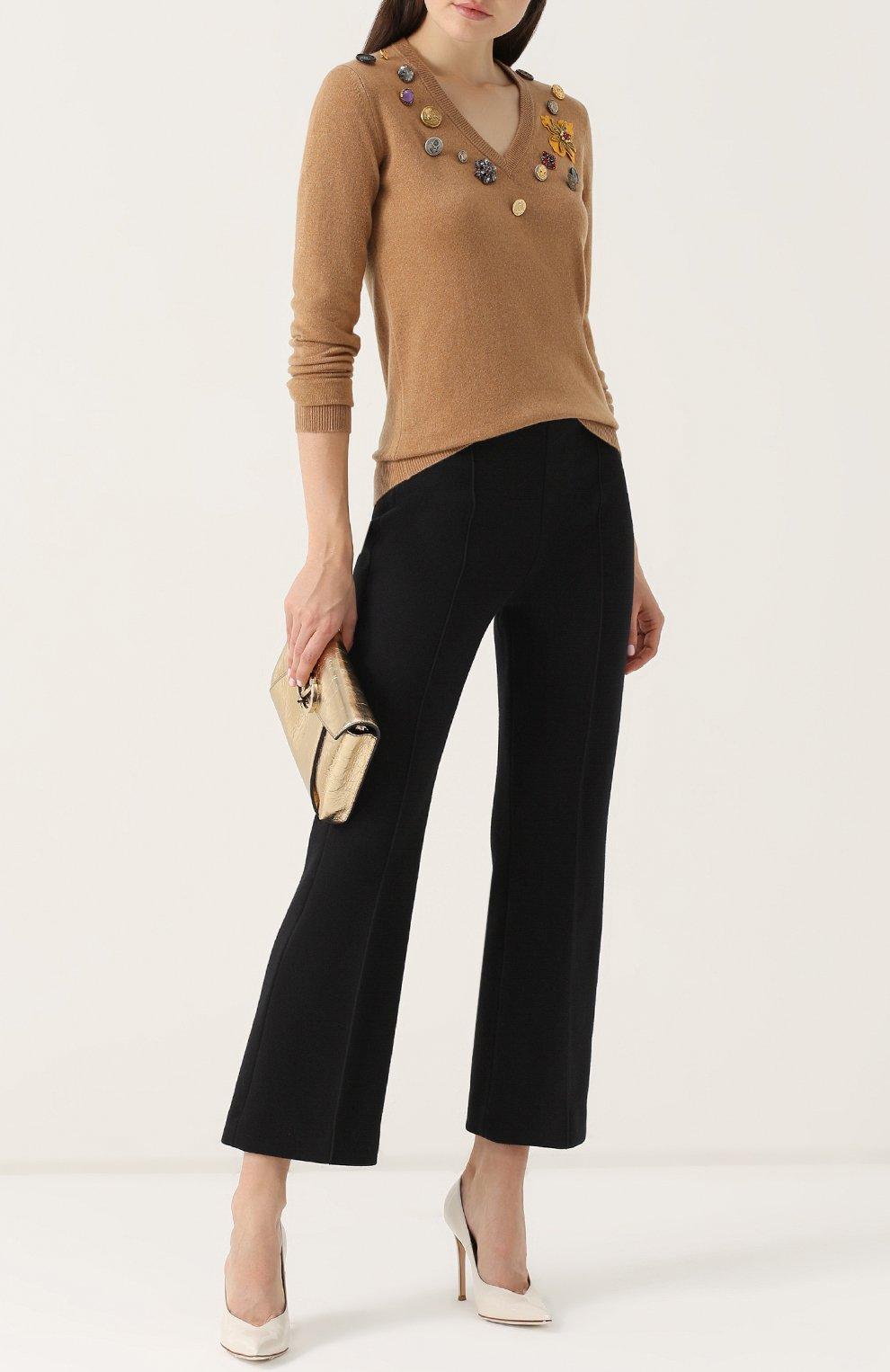 Кашемировый пуловер с V-образным вырезом Dolce & Gabbana бежевый | Фото №2