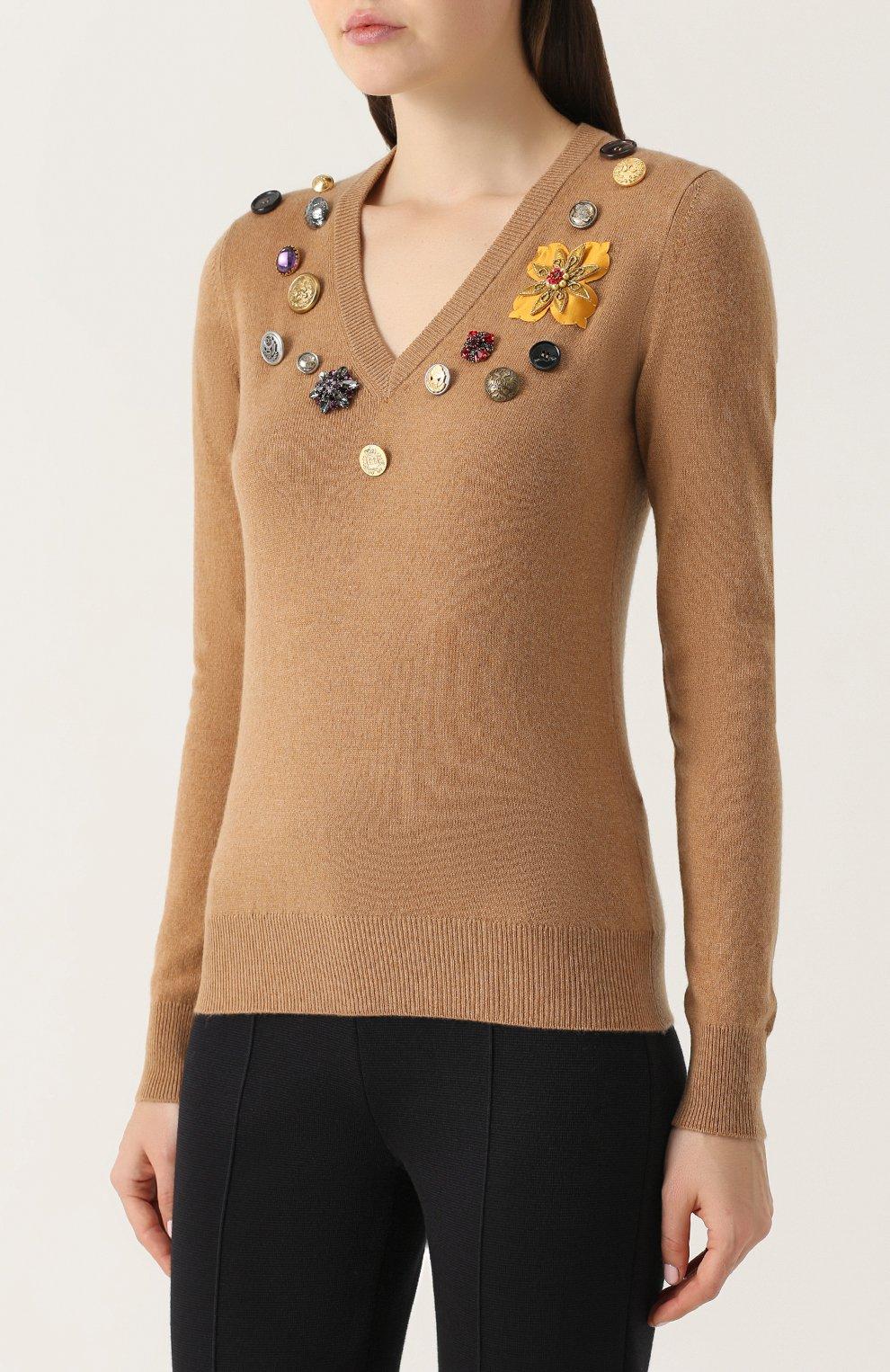 Кашемировый пуловер с V-образным вырезом Dolce & Gabbana бежевый | Фото №3