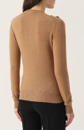 Кашемировый пуловер с V-образным вырезом Dolce & Gabbana бежевый | Фото №4