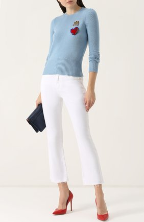 Шерстяной пуловер с контрастной отделкой Dolce & Gabbana голубой | Фото №2