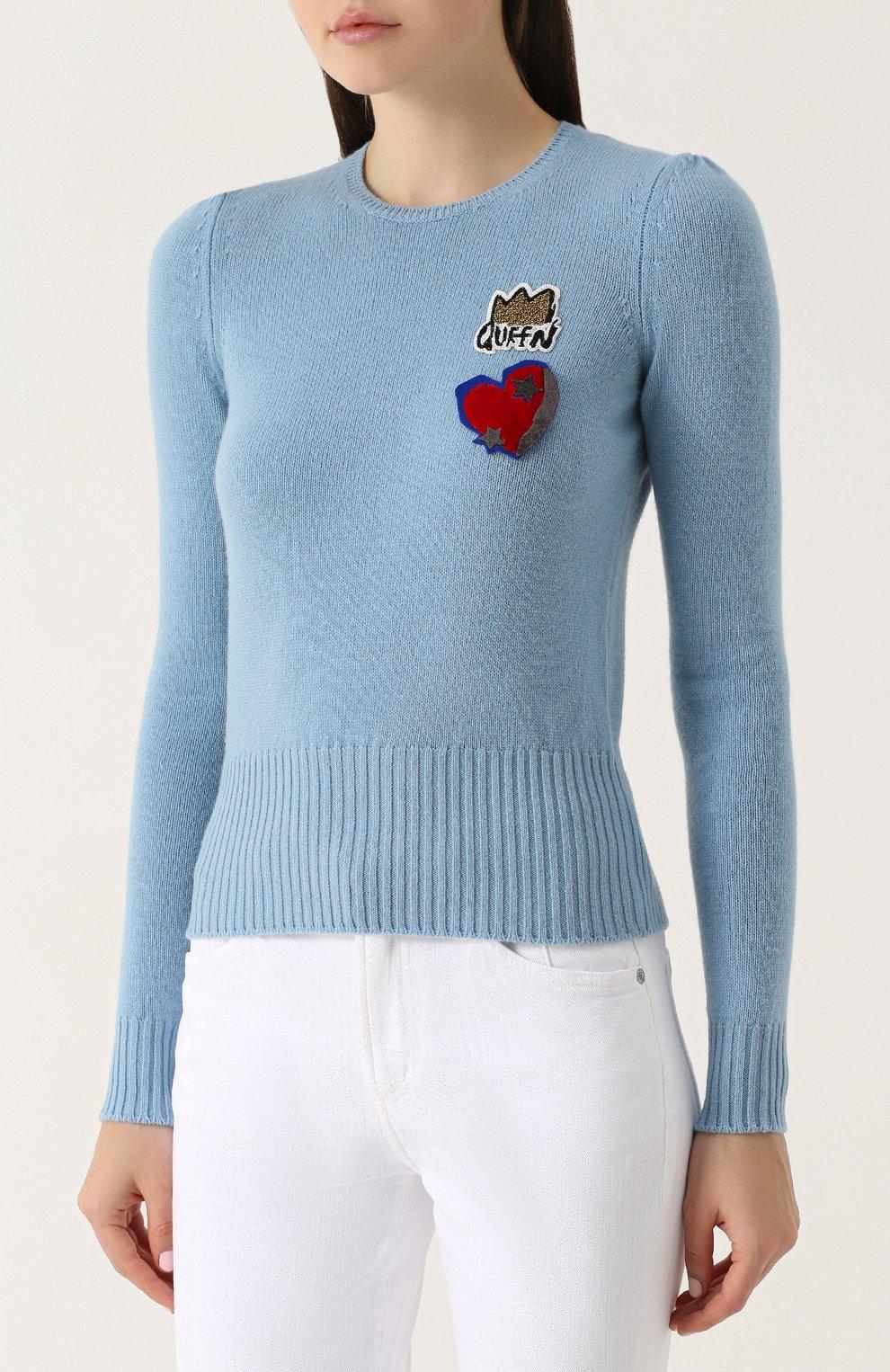 Шерстяной пуловер с контрастной отделкой Dolce & Gabbana голубой | Фото №3